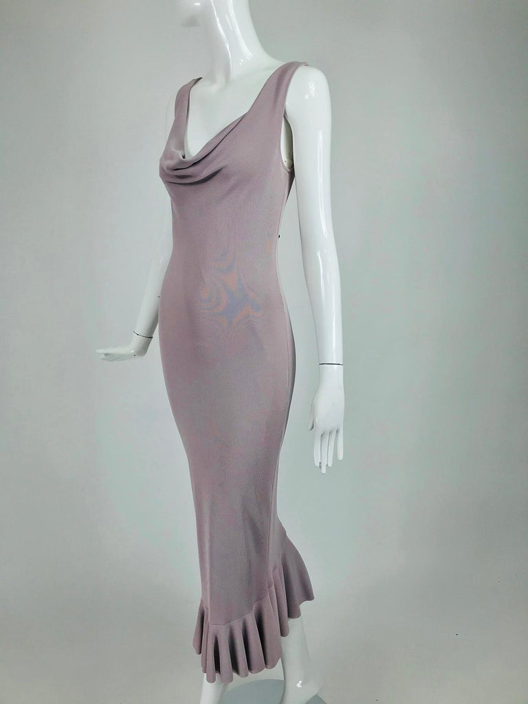 Alexander McQueen Lavender Knit Dress with Black Ribbon Tie Back For Sale 6