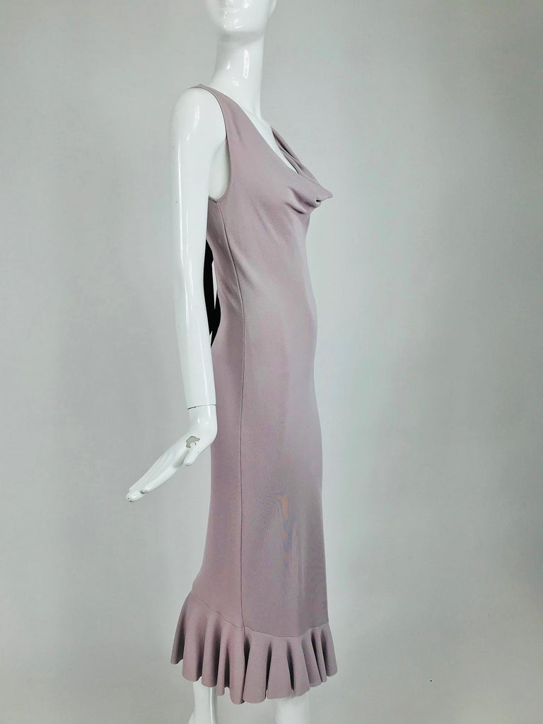 Alexander McQueen Lavender Knit Dress with Black Ribbon Tie Back In Excellent Condition For Sale In West Palm Beach, FL