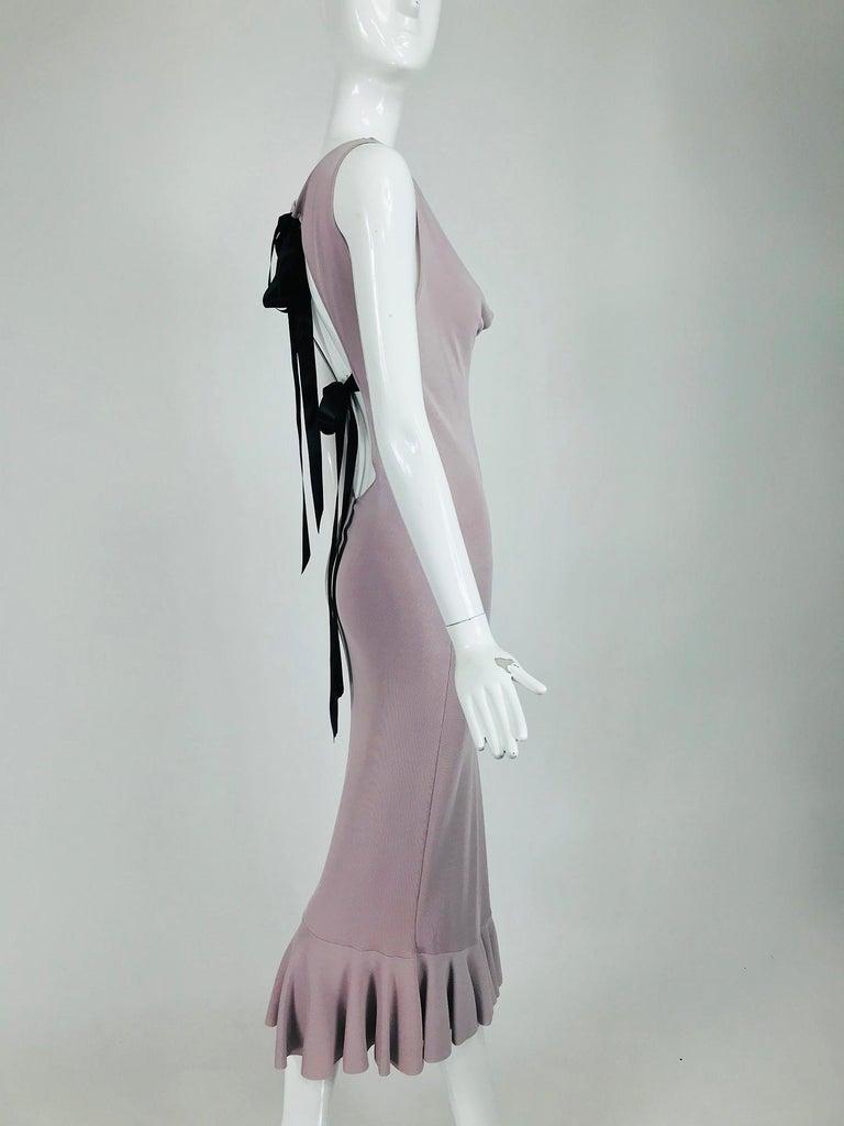 Women's Alexander McQueen Lavender Knit Dress with Black Ribbon Tie Back For Sale
