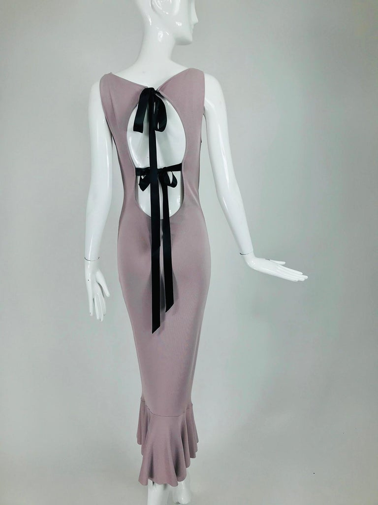 Alexander McQueen Lavender Knit Dress with Black Ribbon Tie Back For Sale 2