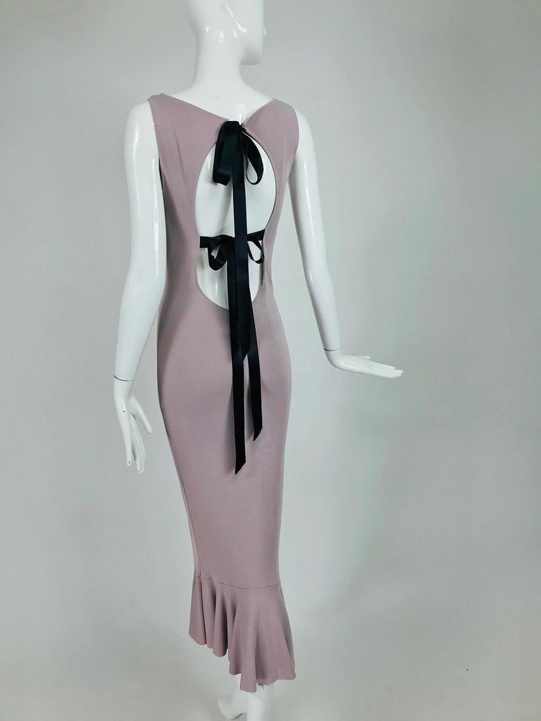 Alexander McQueen Lavender Knit Dress with Black Ribbon Tie Back For Sale 3