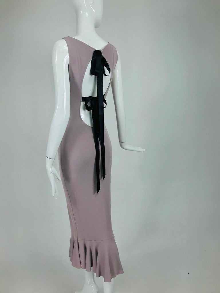 Alexander McQueen Lavender Knit Dress with Black Ribbon Tie Back For Sale 4