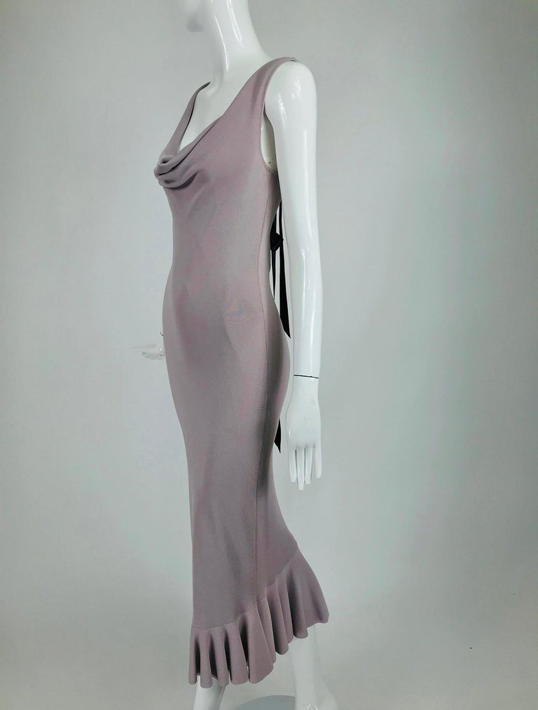 Alexander McQueen Lavender Knit Dress with Black Ribbon Tie Back For Sale 5