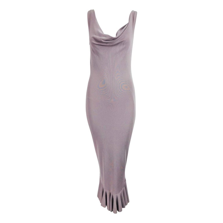Alexander McQueen Lavender Knit Dress with Black Ribbon Tie Back For Sale