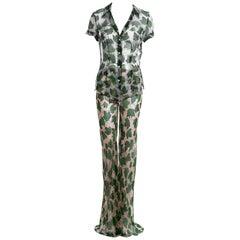 Dolce & Gabbana leaf print silk chiffon blouse and pants set, ss 1997