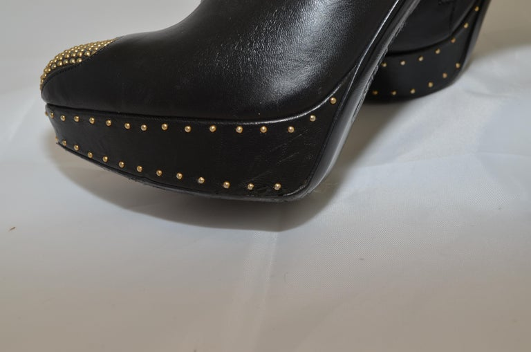 Alexander McQueen Leather Platform Boots with Studded Heart Motif For Sale 6
