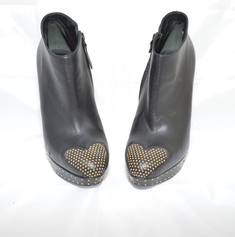 Alexander McQueen Leather Platform Boots with Studded Heart Motif In Good Condition For Sale In Carmel by the Sea, CA