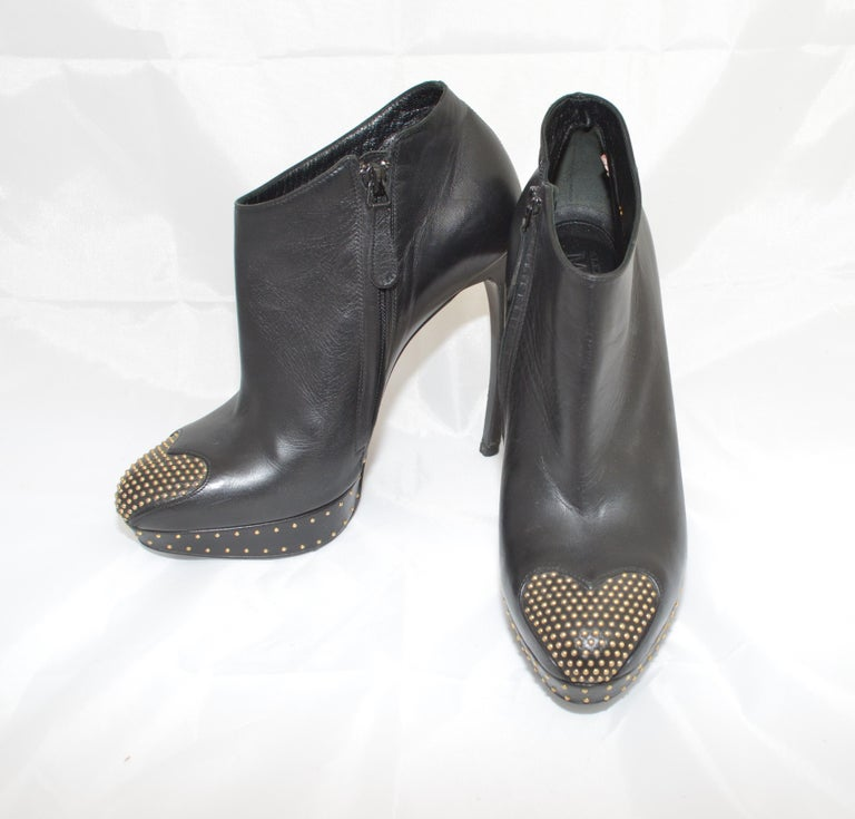 Women's Alexander McQueen Leather Platform Boots with Studded Heart Motif For Sale