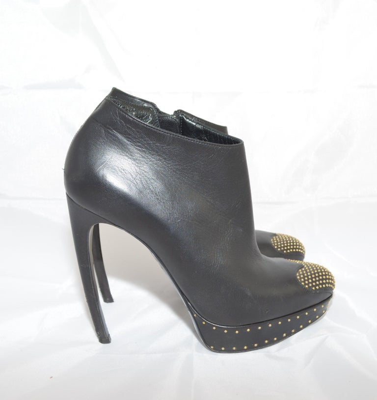Alexander McQueen Leather Platform Boots with Studded Heart Motif For Sale 1
