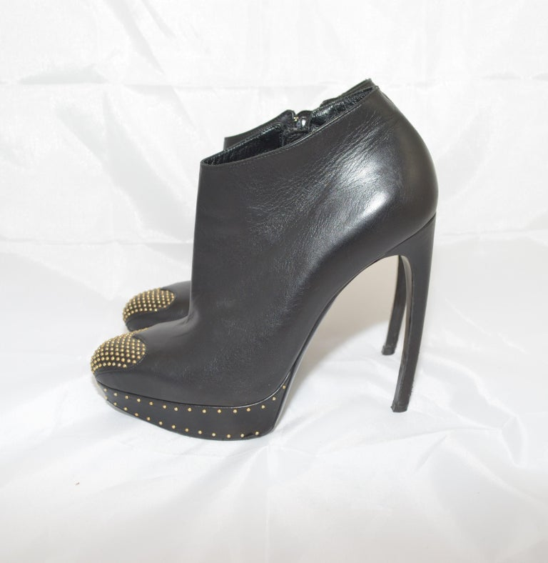 Alexander McQueen Leather Platform Boots with Studded Heart Motif For Sale 2