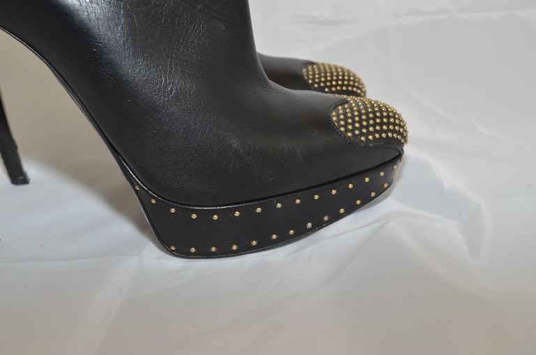 Alexander McQueen Leather Platform Boots with Studded Heart Motif For Sale 4