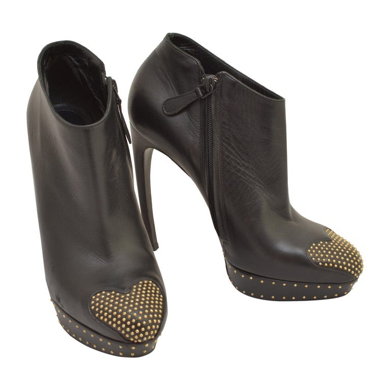 Alexander McQueen Leather Platform Boots with Studded Heart Motif For Sale