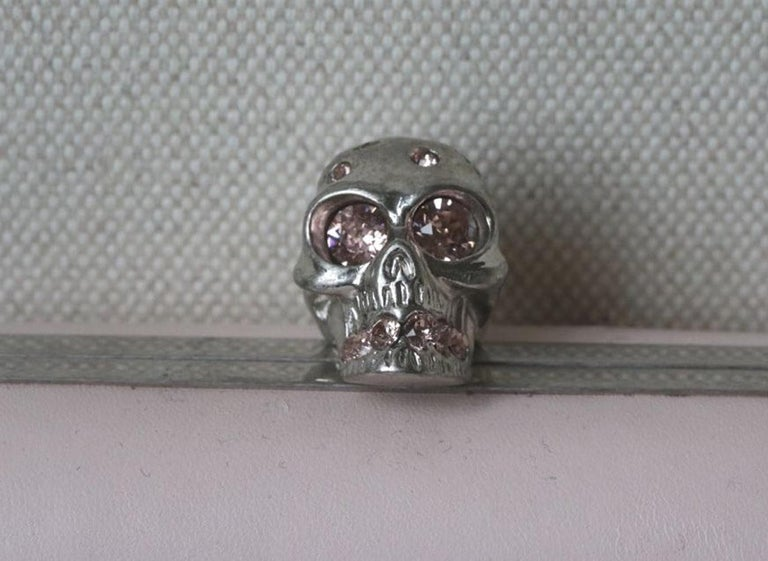 Beige Alexander McQueen Leather Skull Box Clutch Bag For Sale