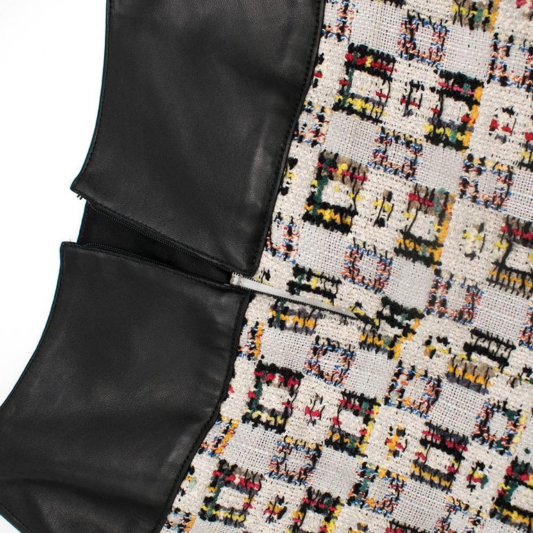 Alexander McQueen Leather-Trimmed Tweed Skirt 38 For Sale 1