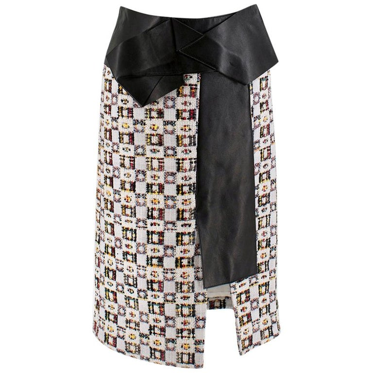 Alexander McQueen Leather-Trimmed Tweed Skirt 38 For Sale
