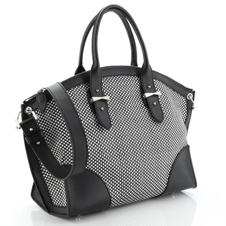 Alexander McQueen Legend Convertible Satchel Woven Leather Medium  In Good Condition For Sale In New York, NY