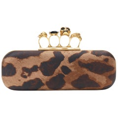 ALEXANDER MCQUEEN leopard print canvas 4-ring skull knuckleduster box clutch