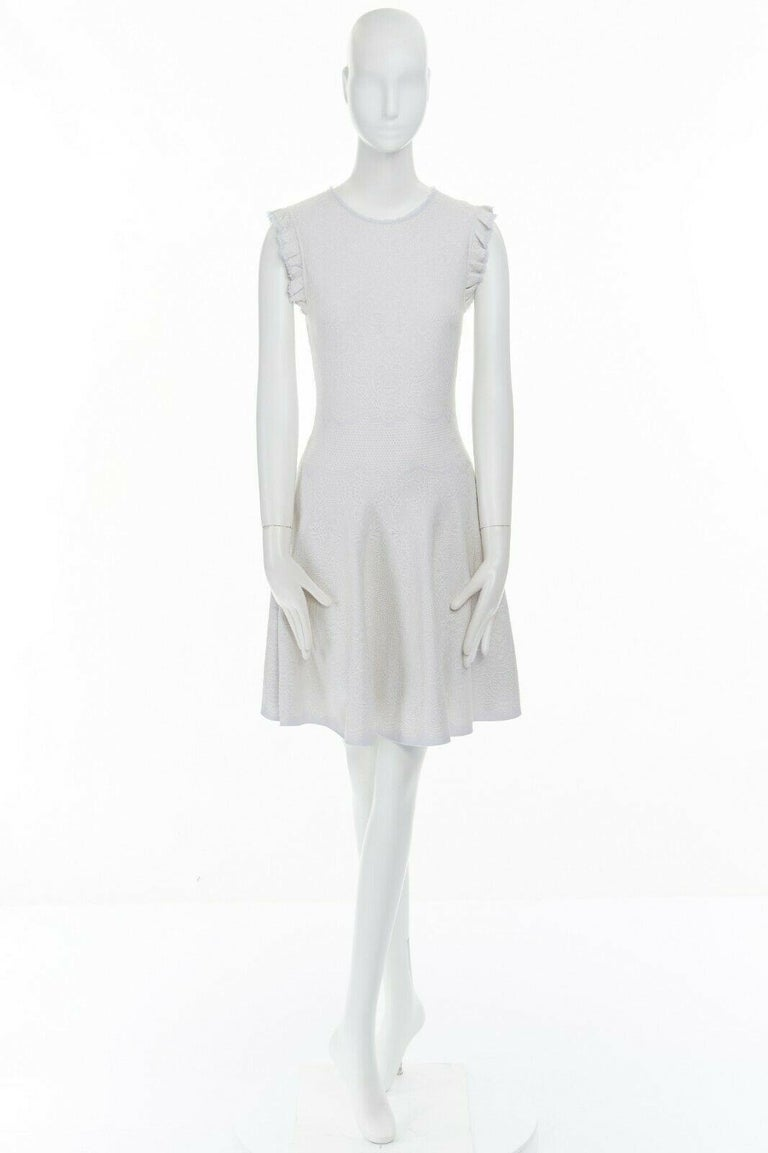 Gray ALEXANDER MCQUEEN light grey tonal jacquard knit ruffle sleeve fit flare dress S For Sale
