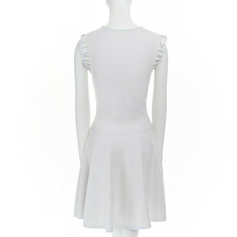 ALEXANDER MCQUEEN light grey tonal jacquard knit ruffle sleeve fit flare dress S For Sale 1