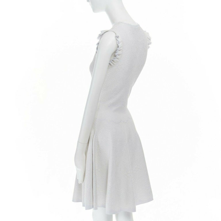 ALEXANDER MCQUEEN light grey tonal jacquard knit ruffle sleeve fit flare dress S For Sale 2