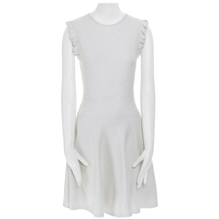 ALEXANDER MCQUEEN light grey tonal jacquard knit ruffle sleeve fit flare dress S For Sale