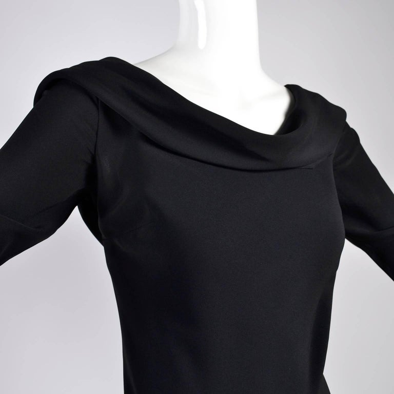 Alexander McQueen Little Black Dress With Scoop Back and Sash Tie Drape In Excellent Condition For Sale In Portland, OR