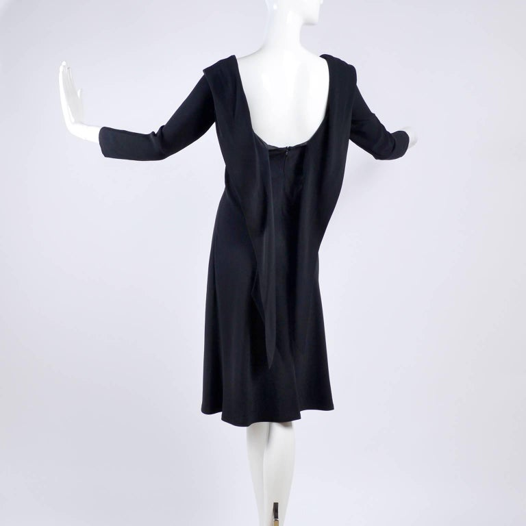 Women's Alexander McQueen Little Black Dress With Scoop Back and Sash Tie Drape For Sale