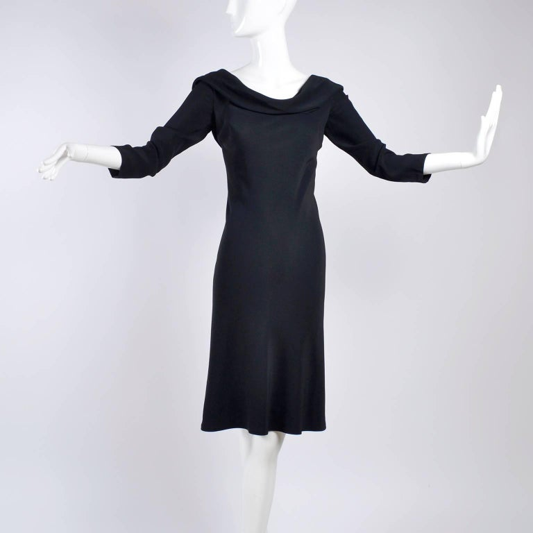 Alexander McQueen Little Black Dress With Scoop Back and Sash Tie Drape For Sale 1