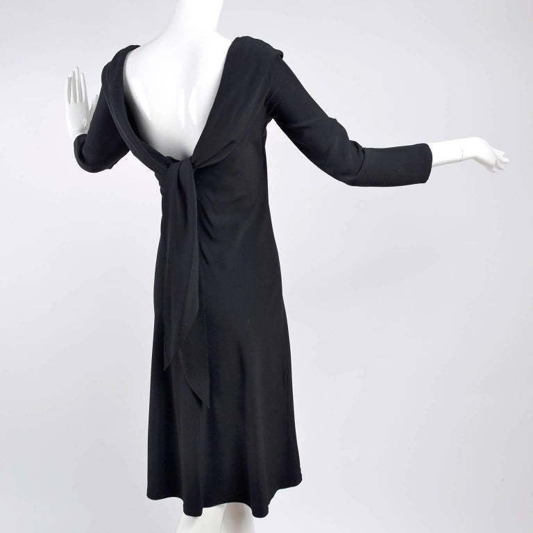 Alexander McQueen Little Black Dress With Scoop Back and Sash Tie Drape For Sale 2