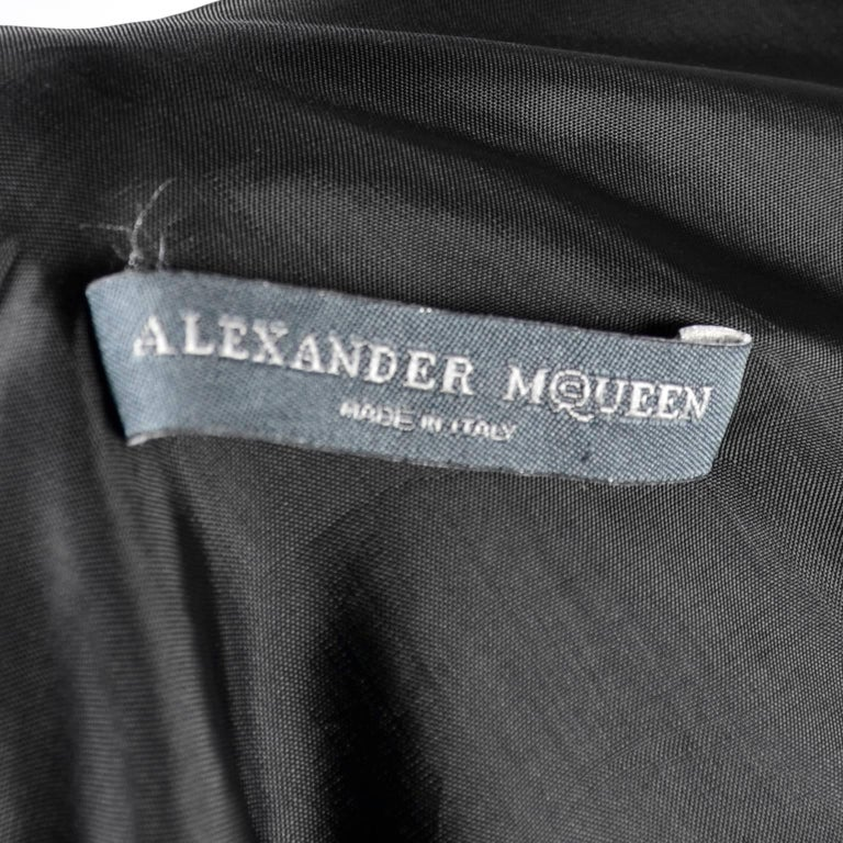 Alexander McQueen Little Black Dress With Scoop Back and Sash Tie Drape For Sale 3