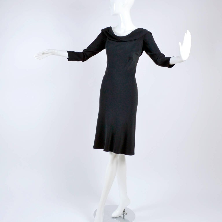 Alexander McQueen Little Black Dress With Scoop Back and Sash Tie Drape For Sale 4