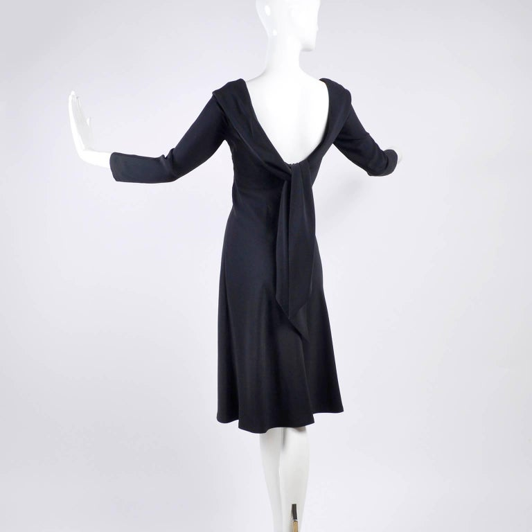 Alexander McQueen Little Black Dress With Scoop Back and Sash Tie Drape For Sale 5