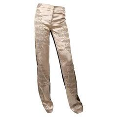 Alexander McQueen Long Silk Satin & Brocade Pants Trousers