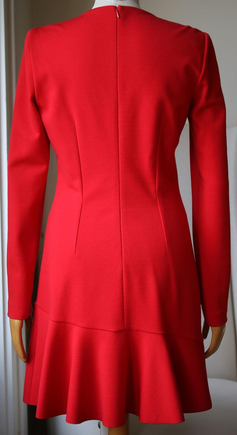 Red Alexander McQueen Long-Sleeve Frill Dress For Sale