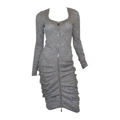 Alexander McQueen Marled Knit Ruched Dress