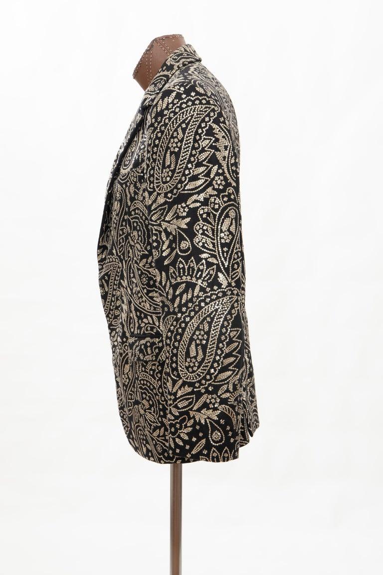 Alexander McQueen Men's Runway Black Wool Embroidered Sequin Blazer, Fall 2016 For Sale 7