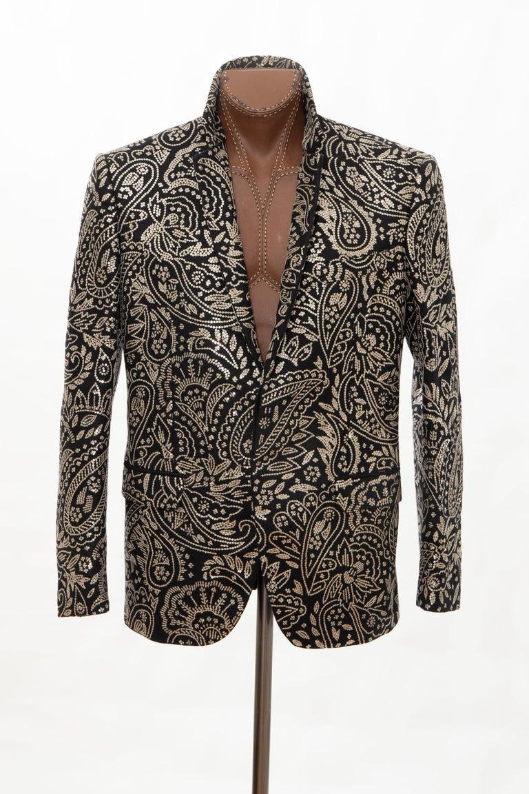 Alexander McQueen Men's Runway Black Wool Embroidered Sequin Blazer, Fall 2016 For Sale 9