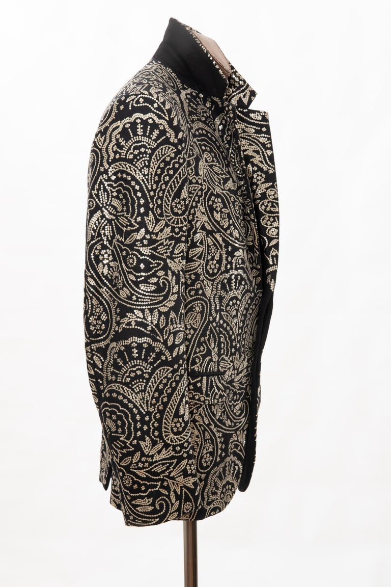 Alexander McQueen Men's Runway Black Wool Embroidered Sequin Blazer, Fall 2016 For Sale 10