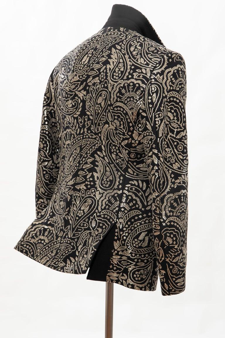 Alexander McQueen Men's Runway Black Wool Embroidered Sequin Blazer, Fall 2016 For Sale 11