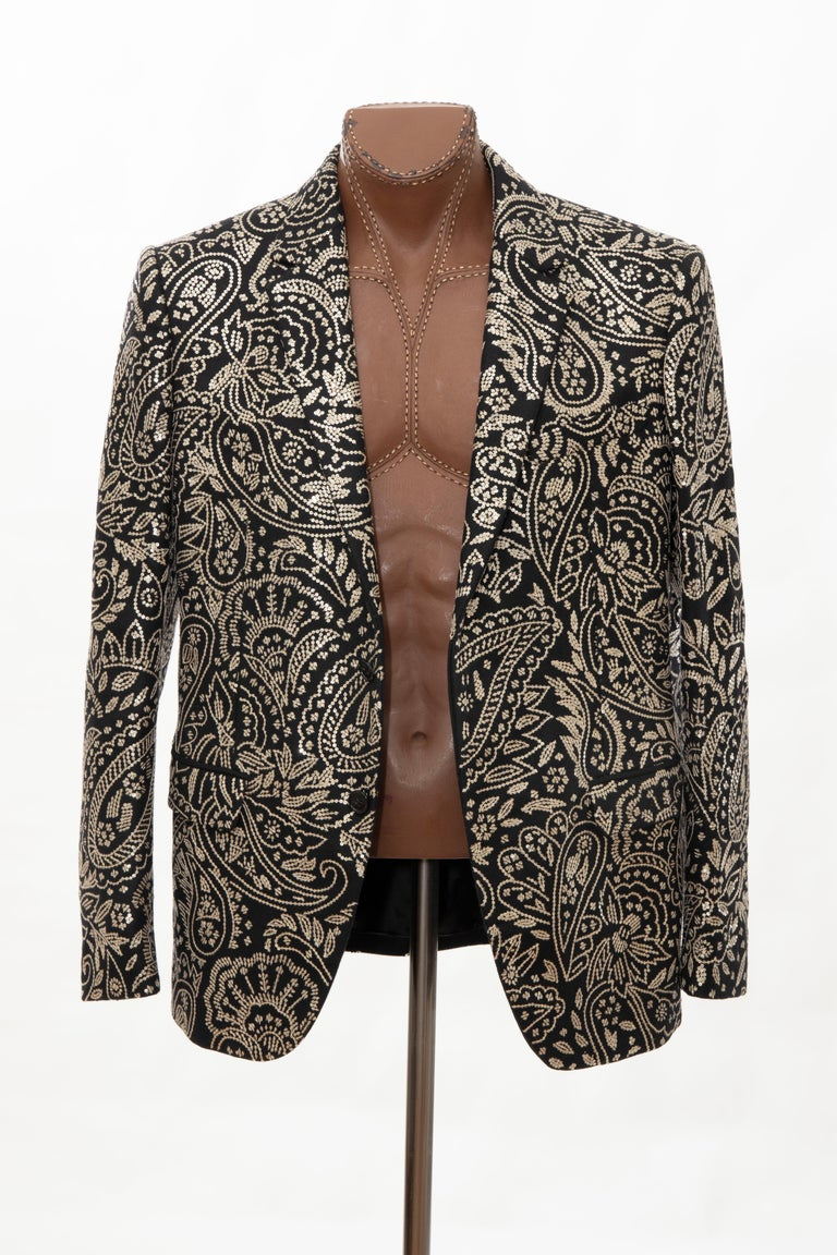 Alexander McQueen Men's Runway Black Wool Embroidered Sequin Blazer, Fall 2016 For Sale 12