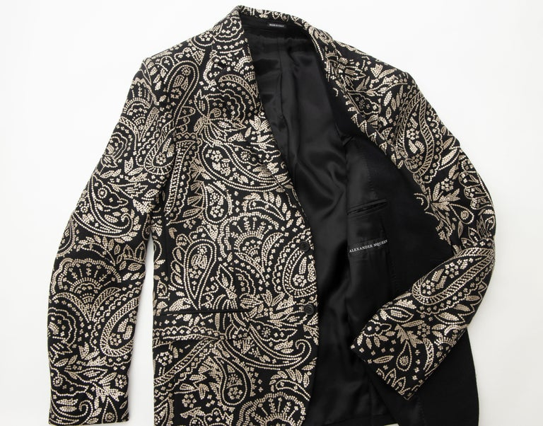 Alexander McQueen Men's Runway Black Wool Embroidered Sequin Blazer, Fall 2016 For Sale 13