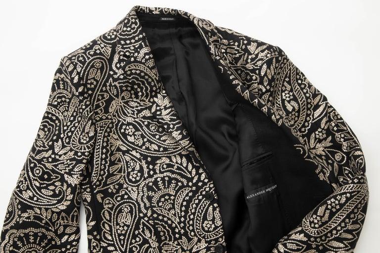 Alexander McQueen Men's Runway Black Wool Embroidered Sequin Blazer, Fall 2016 For Sale 14