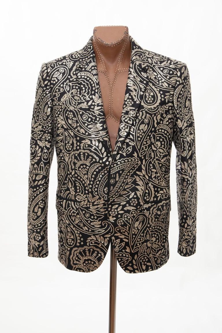 Alexander McQueen Men's Runway Black Wool Embroidered Sequin Blazer, Fall 2016 In Excellent Condition For Sale In Cincinnati, OH