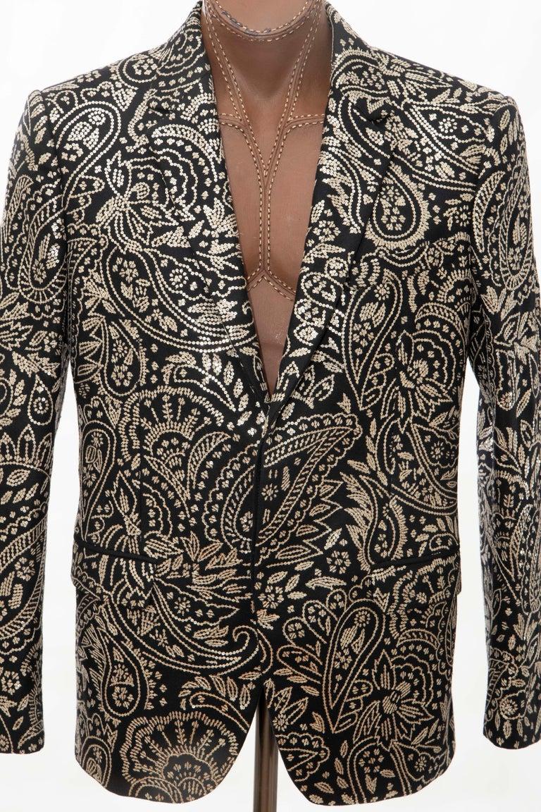 Alexander McQueen Men's Runway Black Wool Embroidered Sequin Blazer, Fall 2016 For Sale 1