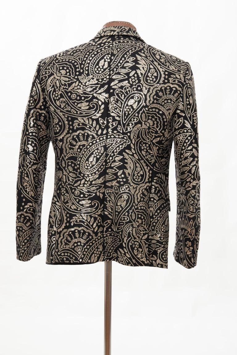 Alexander McQueen Men's Runway Black Wool Embroidered Sequin Blazer, Fall 2016 For Sale 5