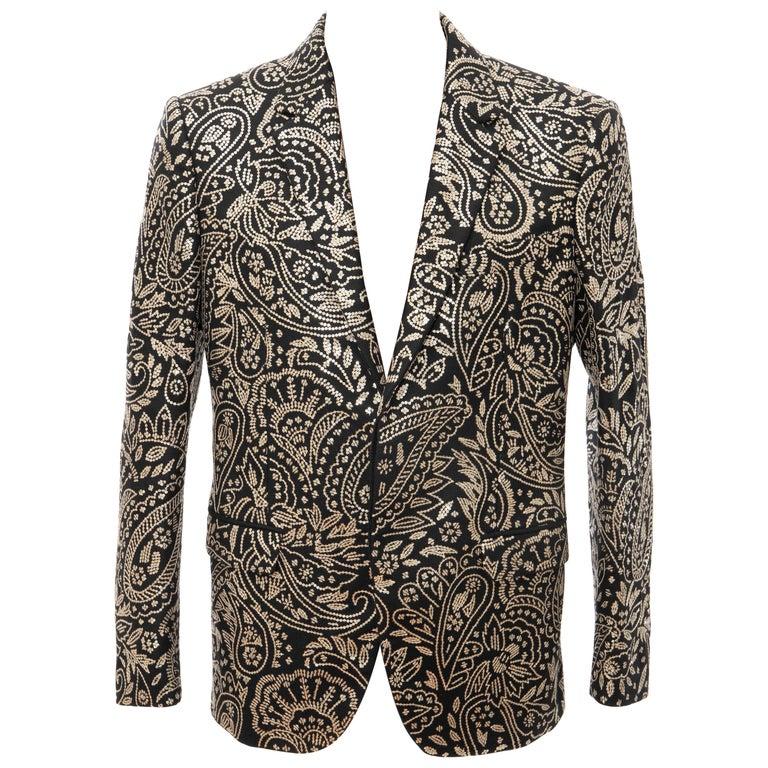 Alexander McQueen Men's Runway Black Wool Embroidered Sequin Blazer, Fall 2016 For Sale