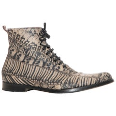 Alexander McQueen Men's Skull & Bones Printed Leather Boots, Fall 2010