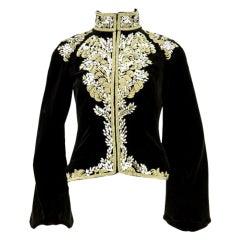 Alexander McQueen Metal Thread Bullion Embroidery Velvet Jacket