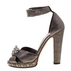 Alexander McQueen Metalli Skull Ankle Strap Platform Sandals Size 40
