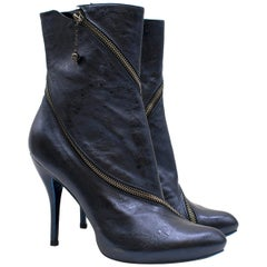 Alexander McQueen Metallic Blue Heeled Ankle Boots Size 39